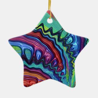 Rainbow Swirl Fractal Ceramic Star Decoration