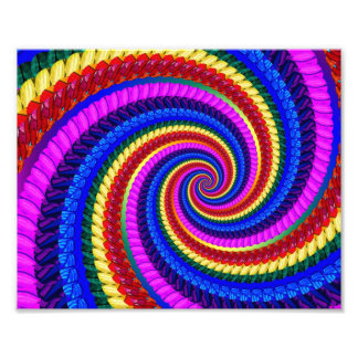Rainbow Swirl Fractal Pattern Photographic Print