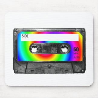 Rainbow Swirl Label Vintage Cassette Mouse Pad