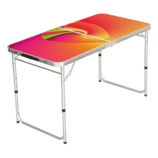 Rainbow Swirl Love Heart Beer Pong Table