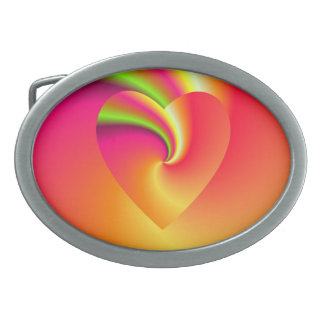 Rainbow Swirl Love Heart Belt Buckles
