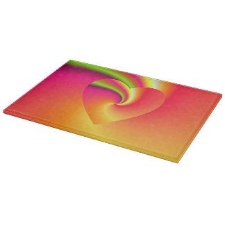 Rainbow Swirl Love Heart Cutting Board