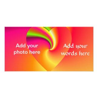 Rainbow Swirl Love Heart Personalised Photo Card