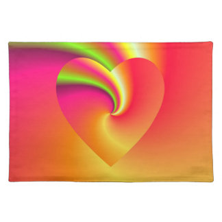 Rainbow Swirl Love Heart Placemat