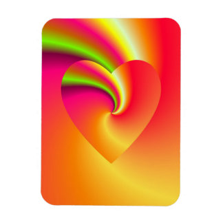 Rainbow Swirl Love Heart Rectangular Photo Magnet