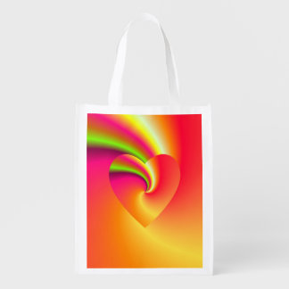 Rainbow Swirl Love Heart Reusable Grocery Bag