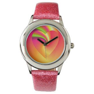 Rainbow Swirl Love Heart Watch