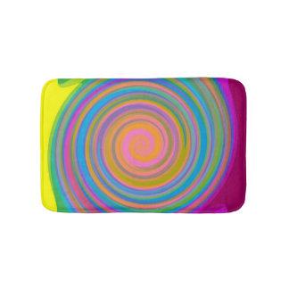 Rainbow swirl pattern bath mat