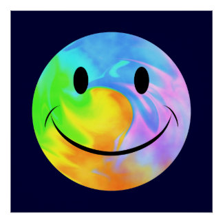 Rainbow Swirl Smiley Face Poster