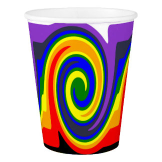 Rainbow Swirl Wave Design Made of Rainbow Colors Paper Cup