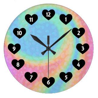 Rainbow Swirl With Heart Wall Clock