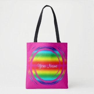 Rainbow Swirling Circle Pink Tote Bag