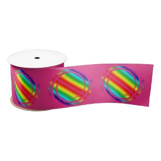 Rainbow Swirling Polka Dots Circles Satin Ribbon