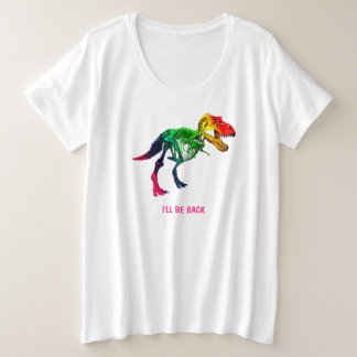 Rainbow T Rex Funny Fossil With Your Name Plus Size T-Shirt