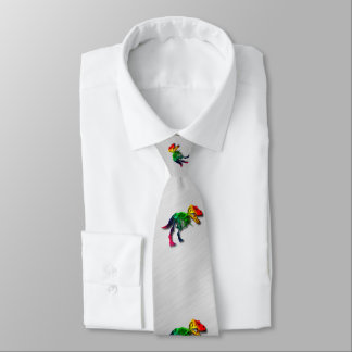 Rainbow T Rex Funny Fossil With Your Name Tie