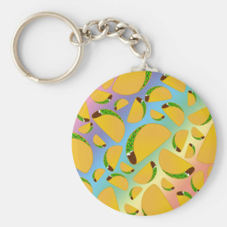 Rainbow tacos basic round button key ring