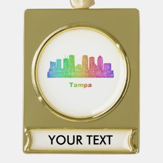 Rainbow Tampa skyline Gold Plated Banner Ornament
