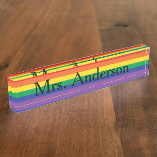 Rainbow Teacher Nameplate for desk