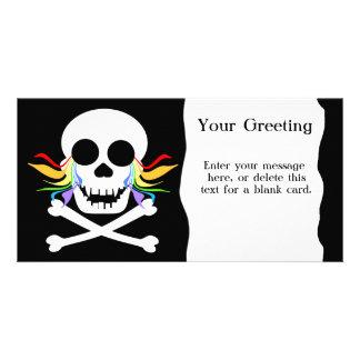 Rainbow Tears White Skull Custom Card Photo Greeting Card