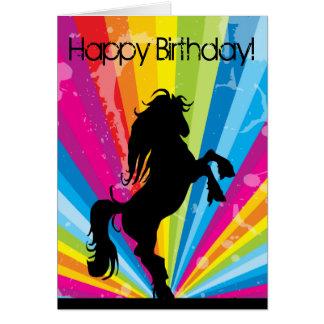 Rainbow Techno Silhouette Horse Birthday Card