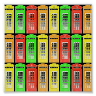 Rainbow Telephone Boxes Poster