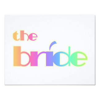 Rainbow Text Bride Tshirts and Gifts Personalized Invites