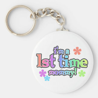 Rainbow Text First Time Mommy Basic Round Button Key Ring