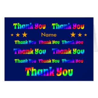 Rainbow thank you personalised greeting card