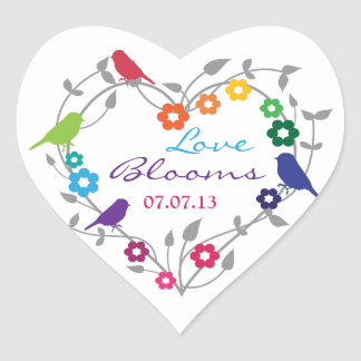 Rainbow Theme Birds Flowers Wedding Envelope Seal Heart Sticker