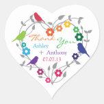 Rainbow Theme Birds Flowers Wedding Favour Tags