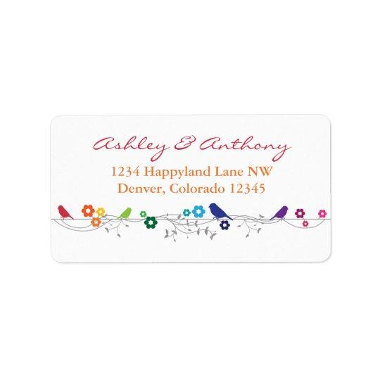 Rainbow Theme Birds Flowers Wedding Return Address Label