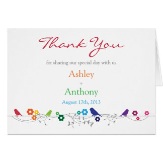 Rainbow Theme Birds Flowers Wedding Thank You Card