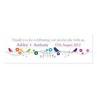 Rainbow Theme Birds Wedding Thank You Favour Tags Pack Of Skinny Business Cards