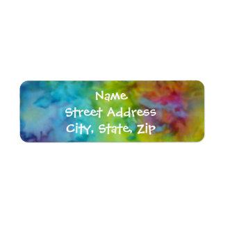 """Rainbow Tie-Dye"" Colorful Return Address Sized Return Address Label"