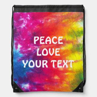 Rainbow Tie Dye Customized Drawstring Bag