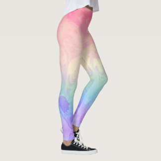 Rainbow Tie-Dye Marbled Leggings