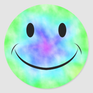Rainbow Tie Dye Smiley Face Sticker