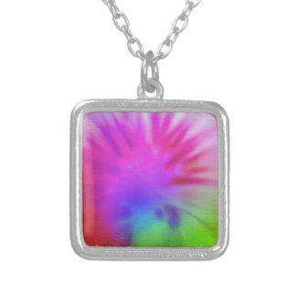 Rainbow tie-dye square pendant necklace