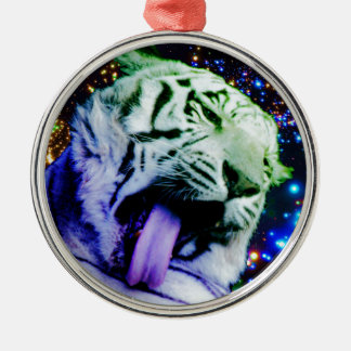 Rainbow Tiger Silver-Colored Round Decoration