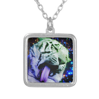Rainbow Tiger Silver Plated Necklace