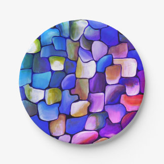 Rainbow tiles 7 inch paper plate