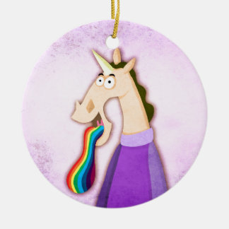 Rainbow Tongue Unicorn Ceramic Ornament