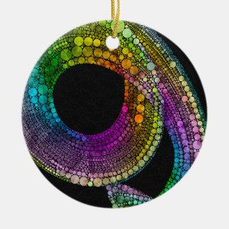 Rainbow Trail Round Ceramic Decoration