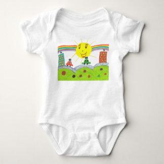 Rainbow & train baby bodysuit