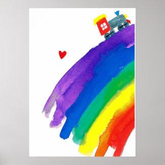 rainbow  train poster