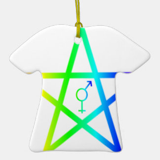 Rainbow Transgender Pentagram #2 Ceramic T-Shirt Decoration