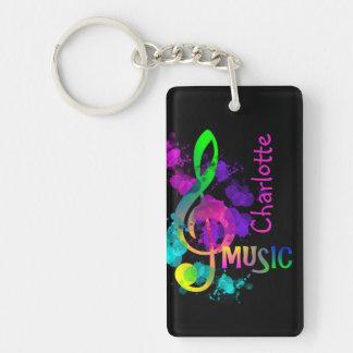 Rainbow Treble Clef Music Paint Splat Personalized Double-Sided Rectangular Acrylic Key Ring
