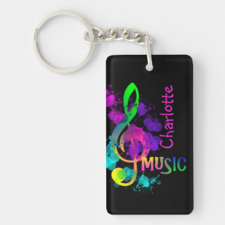 Rainbow Treble Clef Music Paint Splat Personalized Key Ring
