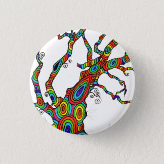 Rainbow Tree - colourful button badge