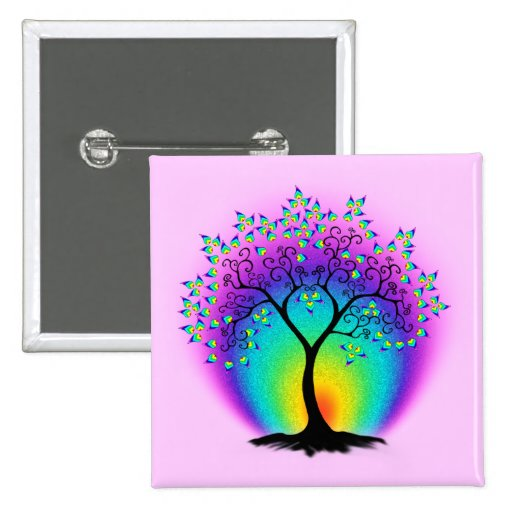 Rainbow Tree of Life Button
